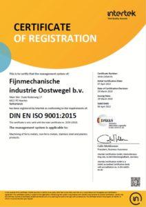 FMI certificaat ISO 9001:2015