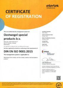 OSP certificaat ISO 9001:2015